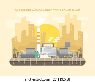 gas energy , natural gas energy, combine cycle power plant, natural gas power plant with gas turbine and steam turbine generate the electric  supply to the city