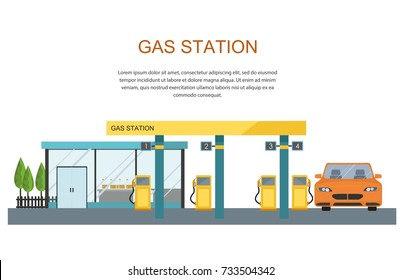 Gas filling station. Energy. Vector flat illustration