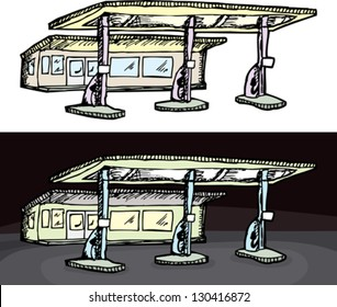 Gas filling station in isolated and night versions
