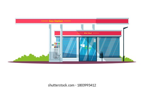 Gas filling station with mini mart semi flat RGB color vector illustration. Diesel, gasoline, gas fuel. Self servicing. Convenience store. Isolated cartoon objects on white background