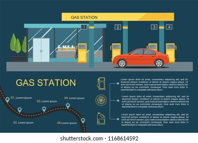 Gas filling station with red car. Business infographic. Vector flat illustration
