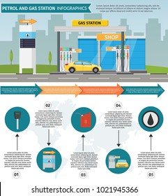 Gas filling station Vector flat illustration of oil service for with shop infographics elements and background