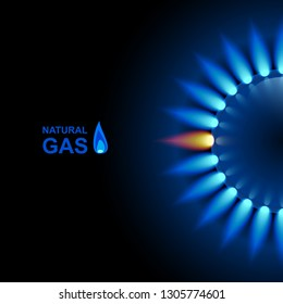 Gas flame with blue reflection on dark backdrop. Vector background. EPS 10.