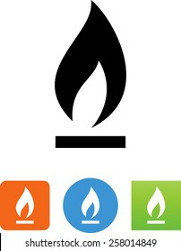 Gas flame burning icon