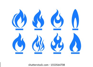 Gas flame icon. Blue fire pictogram set Vector illustration isolated on a white background in flat style.