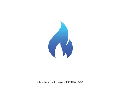Gas flame icon. Blue fire pictogram. Vector illustration isolated on a white background in flat style.