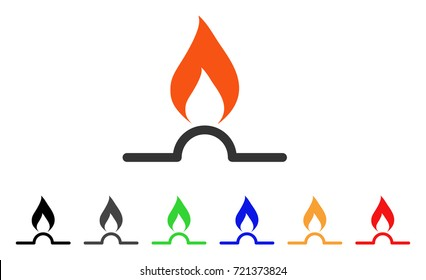 Gas Flame icon. Vector illustration style is a flat iconic gas flame symbol with black, grey, green, blue, red, orange color variants. Designed for web and software interfaces.