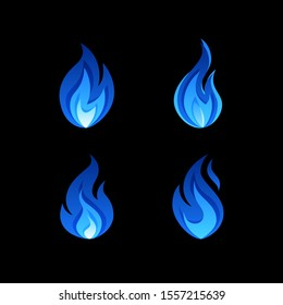 Gas flame icons. Blue fire pictogram set. Vector illustration on a black background in flat style.