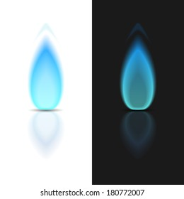Gas flame on dark and white backgrounds, vector eps10 illustration