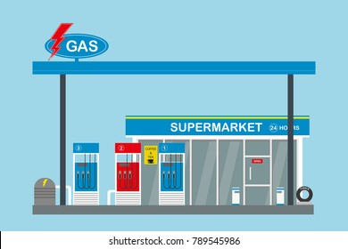 gas fuel station and supermarket,flat vector illustration