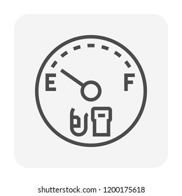 Gas gauge icon design, black color, 64x64 perfect pixel and editable stroke.
