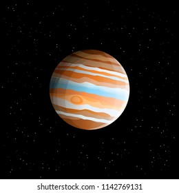 Gas giant - planet Jupiter (biggest Solar System planet) drawn in realistic style, isolated on cosmic space background with stars