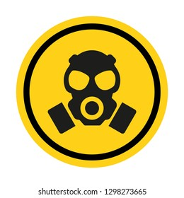 Gas hazard, Ware Respirator, Dust hazard warning circle yellow sign vector icon isolated on white background.