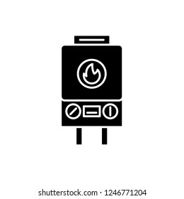 Gas heating black icon, vector sign on isolated background. Gas heating concept symbol, illustration