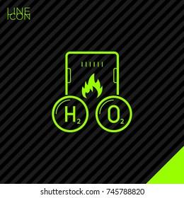 Gas hydrogen peroxide boiler line vector icon