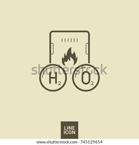 Gas Hydrogen Peroxide Boiler Line Vector Stock Vector Royalty Free