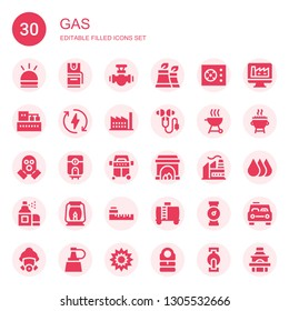 gas icon set. Collection of 30 filled gas icons included Hooter, Pepper spray, Pipe, Factory, Cooker, Eco energy, Ear protection, Grill, Gas mask, Water heater, Fireplace, Aerosol