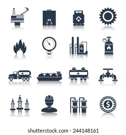 Gas icons black with flame plant storage extraction isolated vector illustration