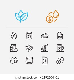 Gas icons set. Oil market and gas icons with water factory, plant and oil barrel. Set of economy for web app logo UI design.