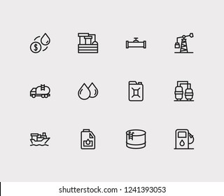 Gas icons set. Oil market and gas icons with tanker truck, engine oil and oil drop. Set of raindrop for web app logo UI design.