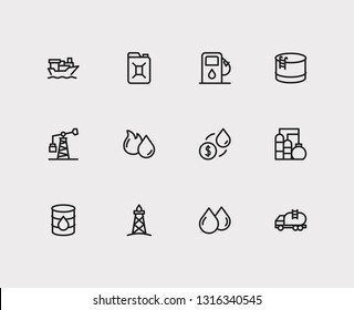 Gas icons set. Oil market and gas icons with canister, oil fossil and tanker ship. Set of renewable for web app logo UI design.