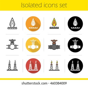 Gas industry icons set. Flat design, linear, black and color styles. Production platforms, pipe valve, gas burner symbol. Isolated vector illustrations
