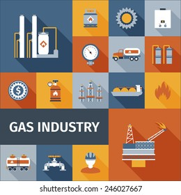 Gas industry renewable eco fuel icon flat set isolated vector illustration