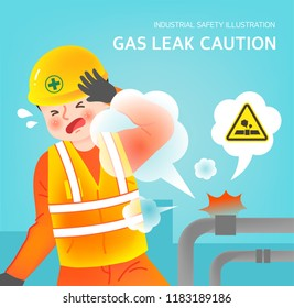 Gas leak caution illustration