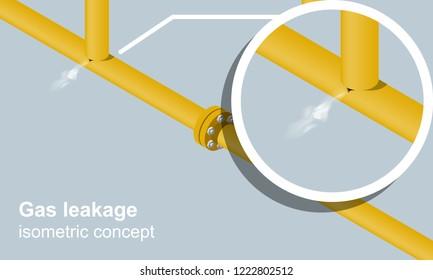 Gas leakage isometric vector illustration.