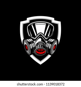 gas mask badge logo vector template