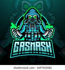 Gas mask esport logo mascot design
