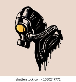 Gas mask in graffiti style vector Illustration.
