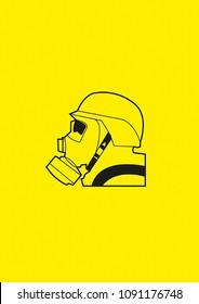 Gas mask head symbol