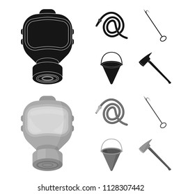 Gas mask, hose, bucket, bagore. Fire department set collection icons in black,monochrome style vector symbol stock illustration web.