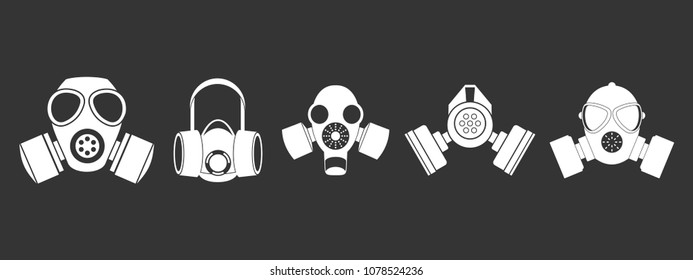 Gas mask icon set vector white isolated on grey background