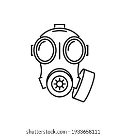 Gas Mask Line Icon Isolated On White Background