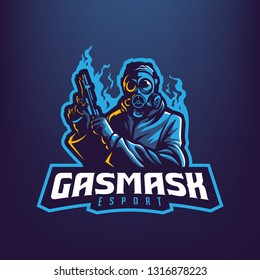 Gas Mask Man Mascot Logo