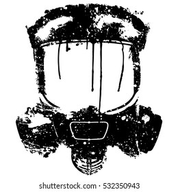 Gas mask with paint splash effect. Vector illustration Isolated on white background.