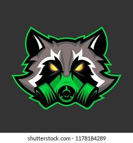 Gas mask raccoon mascot, Sport or esports racoon logo emblem