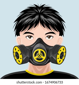 Gas Mask, Respirator Safety Anti-Dust and Toxic Filter Military Protection Army, Chemical or Biological Equipment. Young Man with a Mask of Rebel Symbol, Vandalism Art. Icon or Logo Design Vector