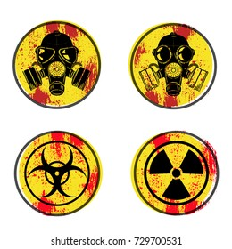 A gas mask. Sign of biological danger. Sign of radiation. Vector illustration on a yellow background with grunge texture.