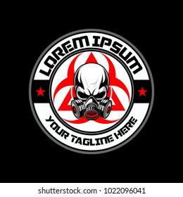 gas mask skull with biohazard vector logo template