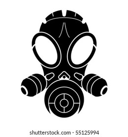 Gas mask stencil isolated over white background