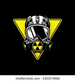 gas mask with triangular shape and nuclear symbol vector template