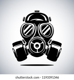 Gas mask vector illustration isolated on white. Respirator vector illustration