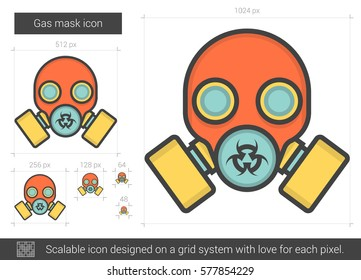 Gas mask vector line icon isolated on white background. Gas mask line icon for infographic, website or app. Scalable icon designed on a grid system.