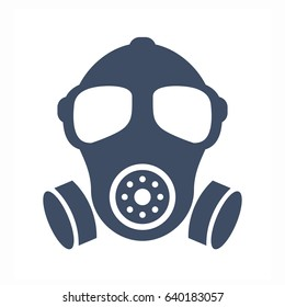 Gas mask vector silhouette sign illustration isolated on white background. Gas mask eps icon.