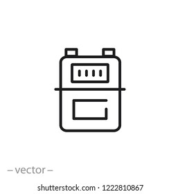 gas meter icon, line sign on white background - editable vector illustration eps10