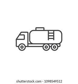 Gas, oil, fuel transportation truck line icon.