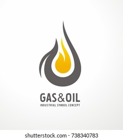 Gas and oil industrial logo design idea with oil drop and flame shape. Black and yellow logo concept for energy business. Energy resources logo layout.
